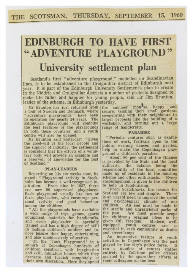 Adventure Playground. Archive