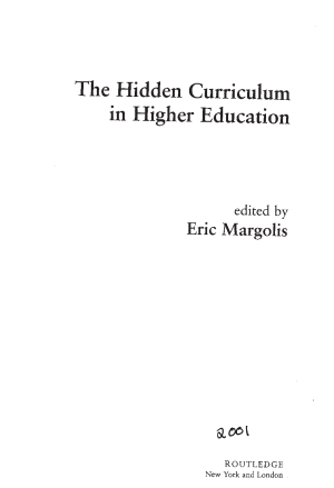 The Hidden Curriculum in Higher Education Margolis