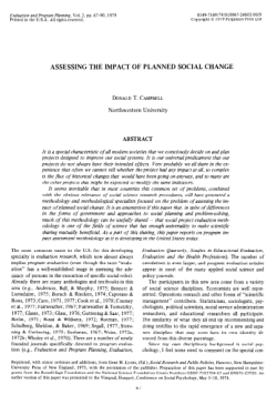 Assessing the Impact of Planned Social Change Donald Campbell