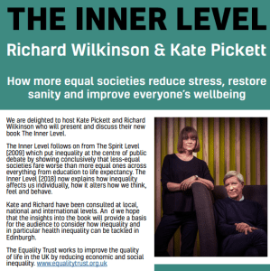 Visit, Listen, Think, Discuss, Write; The Inner Level – Author talk with Profs Richard Wilkinson & Kate Pickett @ Grassmarket Community Project