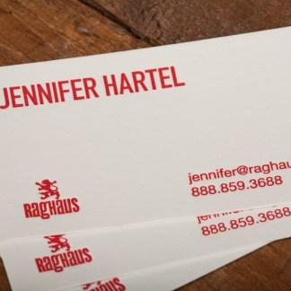Raghaus Custom Printed Letterpress Business Cards