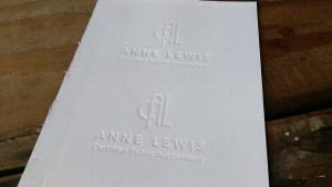 Letterpress blind impression business card