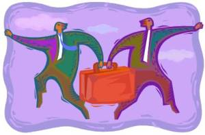 two cartoon men each pulling on same suitcase to move in opposing directions