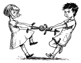 a black and white drawing of a little girl and a little boy engaged in a tug of war over a toy that they both want to represent the inner tug of war dilemmas create in the body