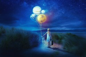 A young person with a suitcase walking down a road with balloons that are actually planets demonstrating the notion of a different world when there is not just one right or wrong