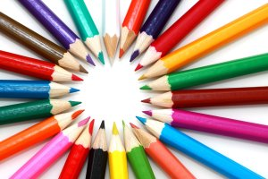 a circle of colored pencils all different colors illustrating the points on a circle all of which are different