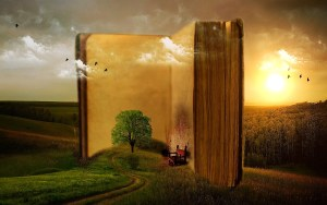 a drawing of a big open book with an empty chair awaiting the arrival of someone ready to grasp the fullest meaning for living life