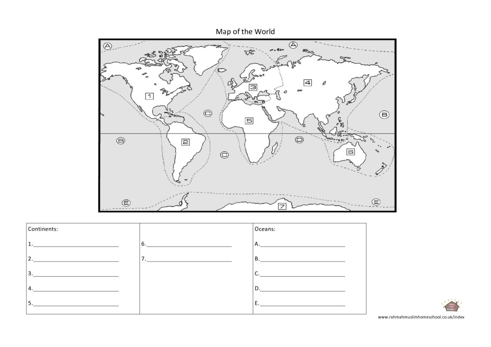 medium resolution of Geography: Continents and Oceans Worksheet   The Resources of Islamic  Homeschool in the UK