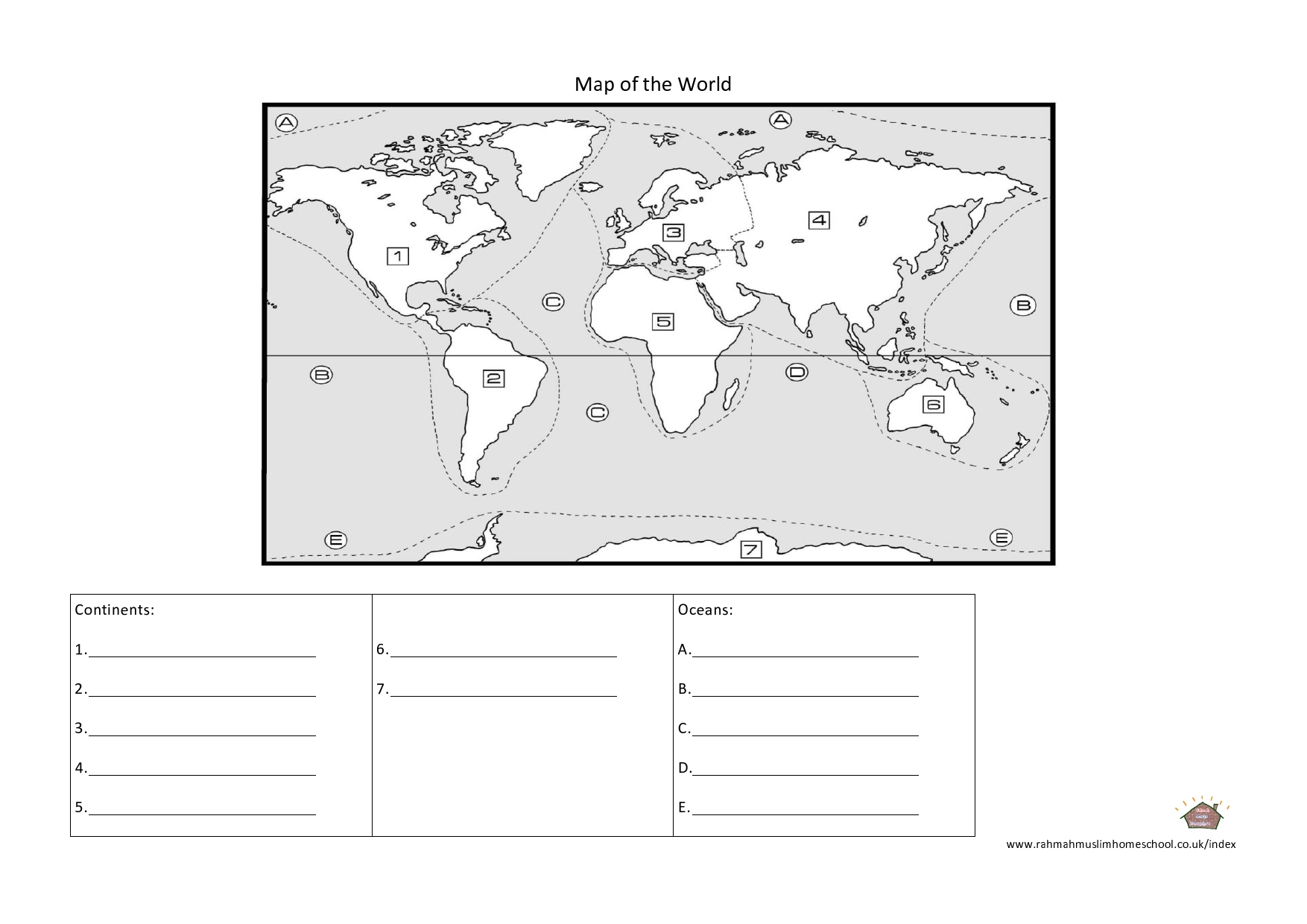 hight resolution of Geography: Continents and Oceans Worksheet   The Resources of Islamic  Homeschool in the UK