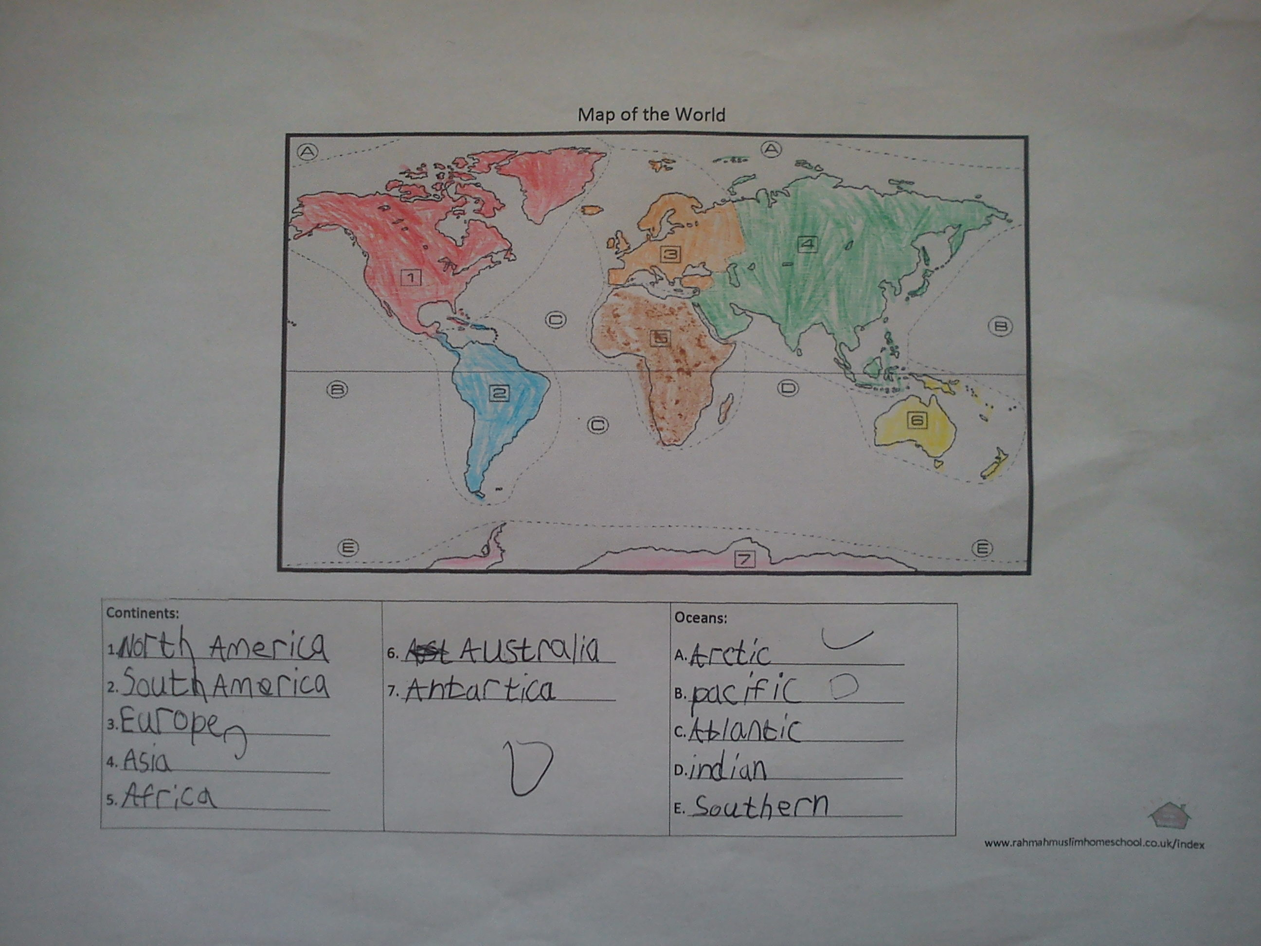 Geography Continents And Oceans Worksheet