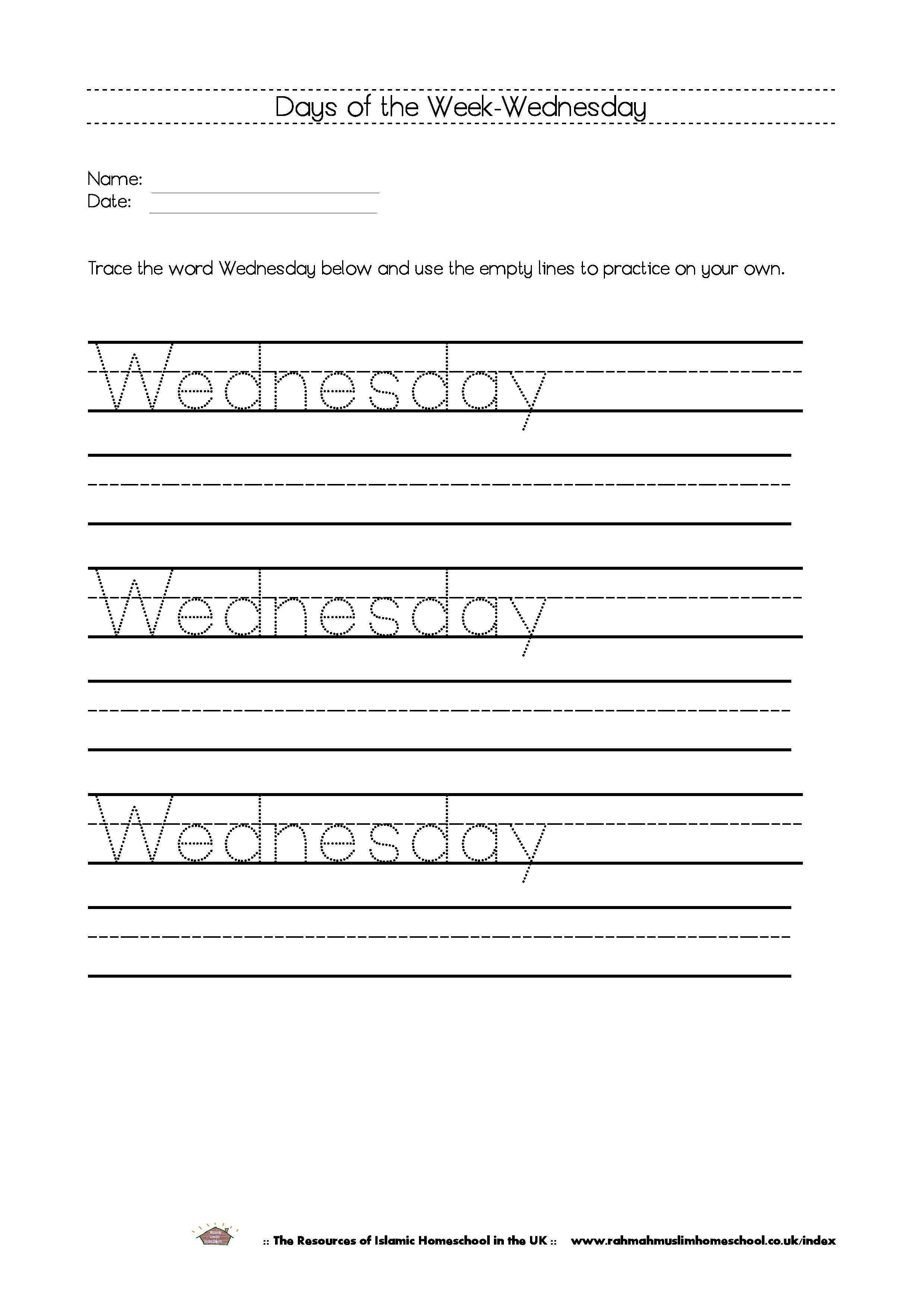 Free Printable Days Of The Week Workbook And Poster