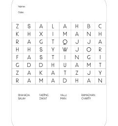 FREE Ramadhan Activities; The Five Pillars of Islam Wordsearch   The  Resources of Islamic Homeschool in the UK [ 3508 x 2479 Pixel ]
