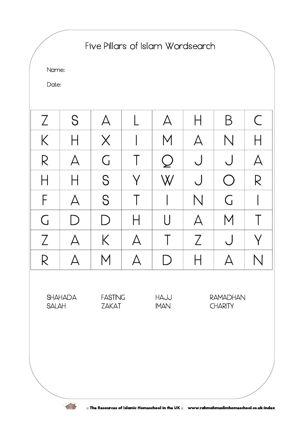 medium resolution of FREE Ramadhan Activities; The Five Pillars of Islam Wordsearch   The  Resources of Islamic Homeschool in the UK