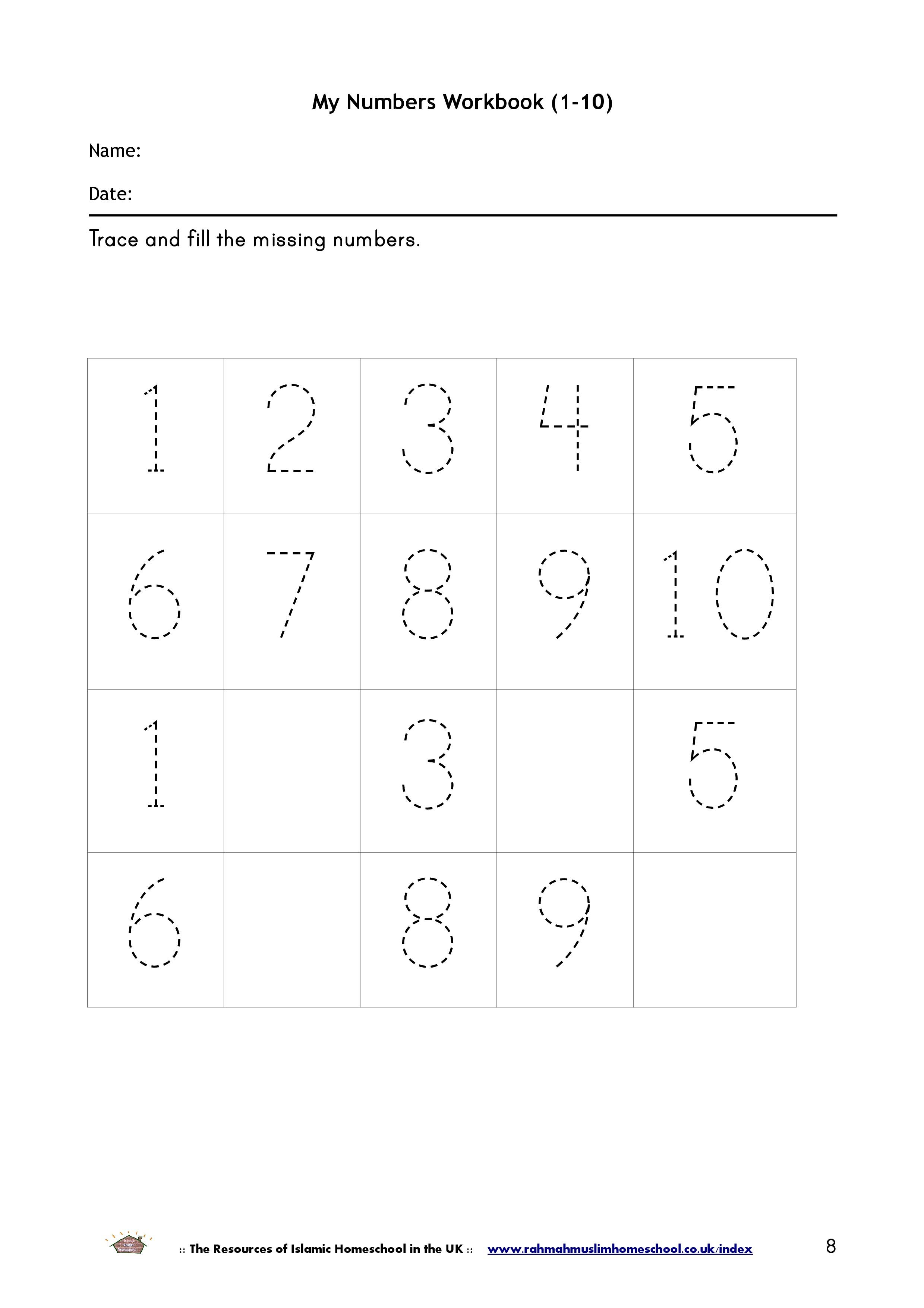 Maths My Numbers Workbook 1 10
