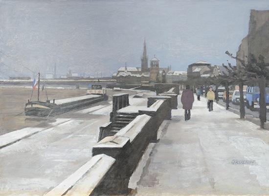 G. Grulich alte Rheinuferstraße im Winter
