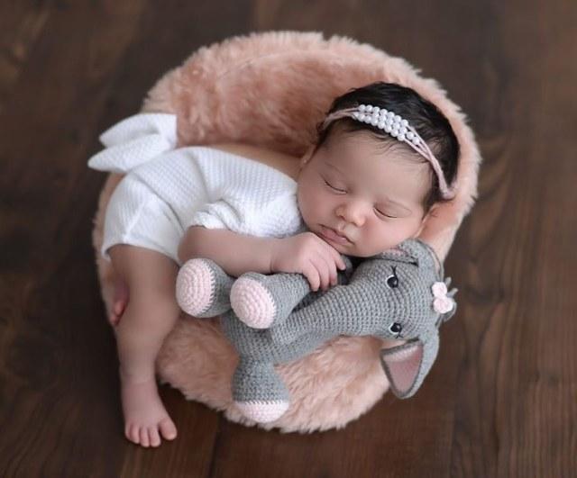 Bebê Bia com Elefante Amigurumi Raiane Barros Bichinhos em Crochê