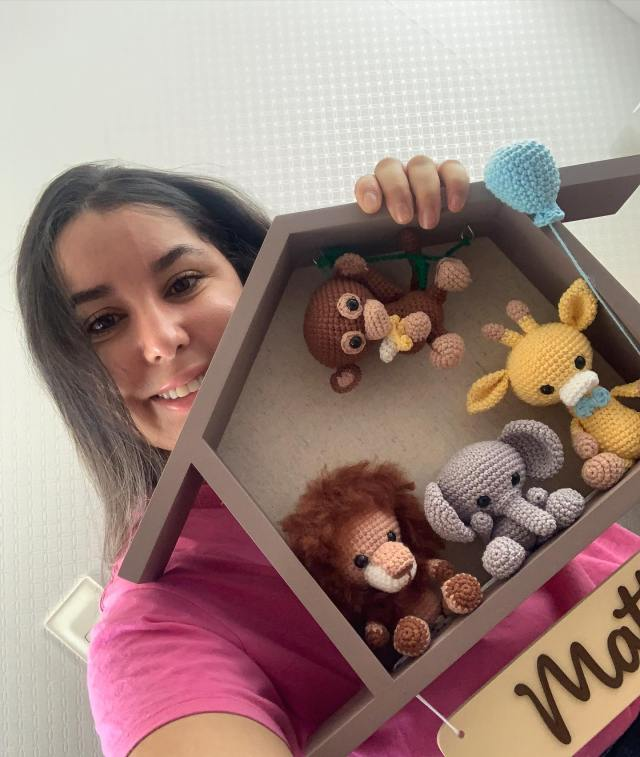 Quadro Maternidade Safari Amigurumi Casinha Raiane Barros Bichinhos em Crochê