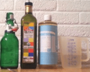 Supplies and materials: water, liquid castile soap, olive or grape seed oil, a glass bottle.