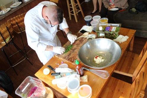 Hard at work making cilantro-lime coleslaw,