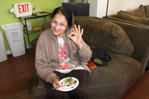 Workshop participant Renu Jagasia approves of the salads.