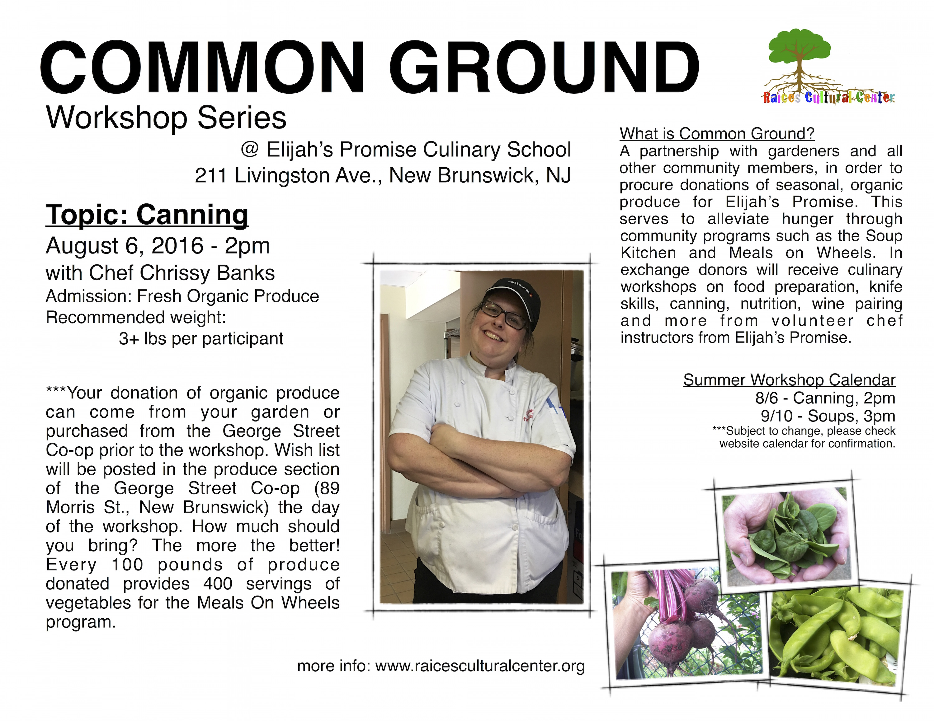 Common Ground Summer Workshop Schedule | The Raíces Cultural Center Blog