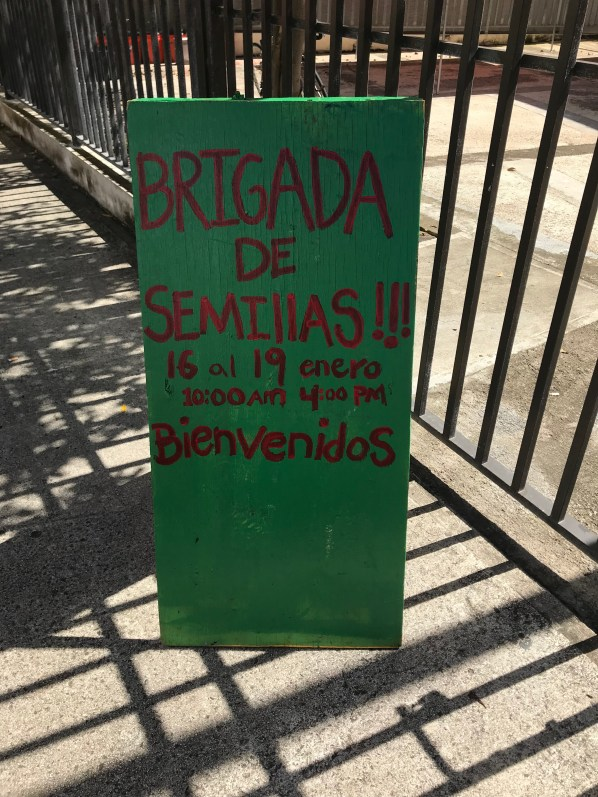 Welcome sign for the Seed Brigade at the Puerto de Tierra Community Center