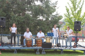 Raíces Cultural Center Student Ensemble performing bomba at the North Plainfield Farmer's Market Festival.