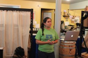 Raíces Eco-Culture Coordinator Nicole Wines presented a slideshow on sustainable relief efforts in Puerto Rico.