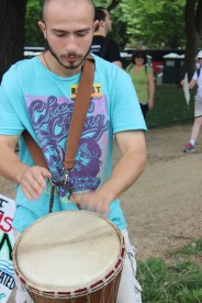 Matt, who came in the Raíces contingent, banged on the drum all day