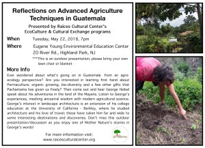 flyer for Reflections on Advanced Agriculture Techniques in Guatemala