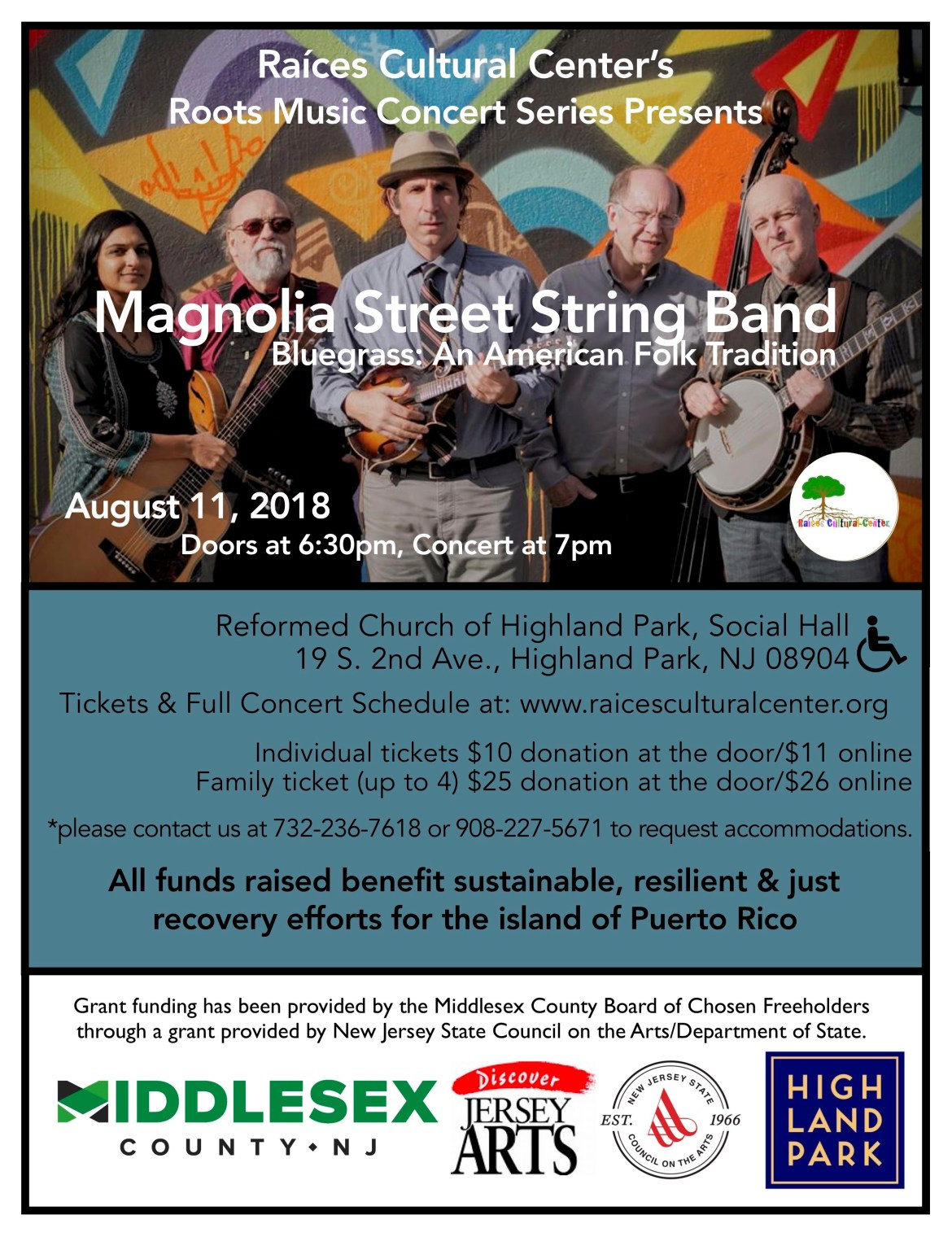 flyer for the next concert in the Raíces Roots Music Concert Series presenting Magnolia Street August 11, 7pm at the Reformed Church of Highland Park.
