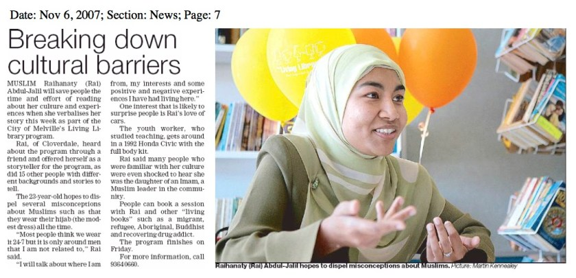 """Breaking down cultural barriers - Raihanaty A Jalil as Guest """"Living Book"""" in Melville Times"""