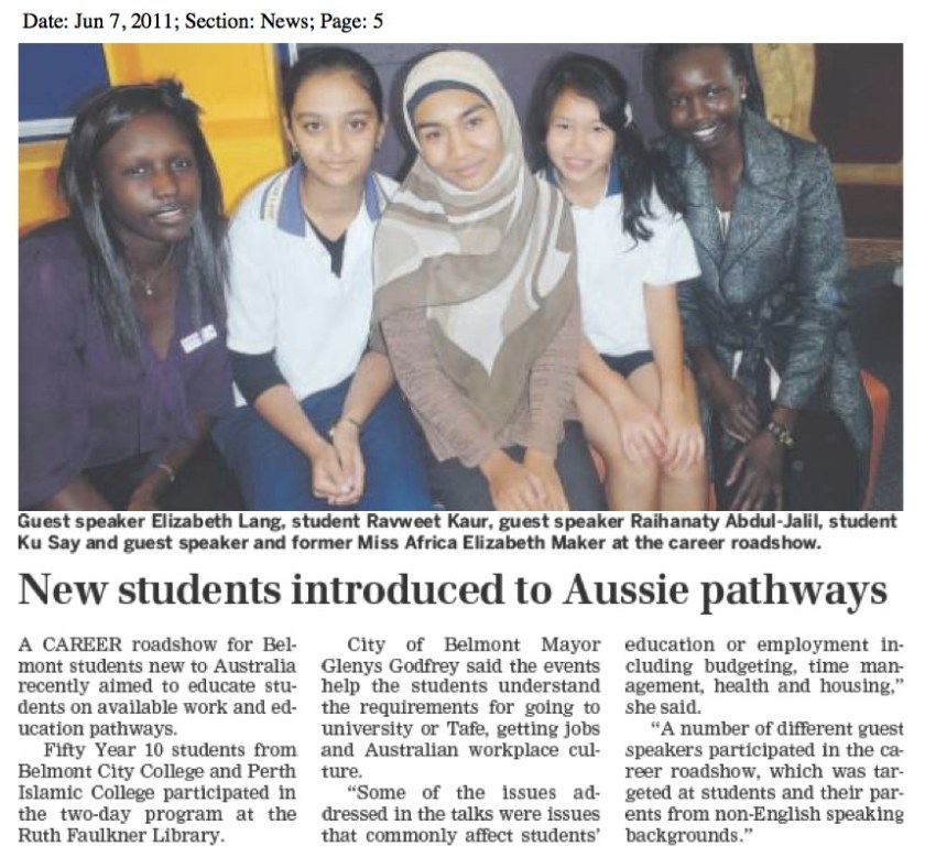 New students introduced to Aussie pathways - Raihanaty A Jalil as Guest Speaker in Southern Gazette