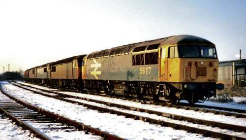 In early 1985, a number of Eastern Region '56s' were sent to work out of Westbury. They were short of work due to the ongoing miners' strike, so it was decided to make better use of them elsewhere. In this view on January 9 that year, Tinsley based No. 56117 is stabled on Westbury depot with more local members of the class Nos. 56033/031/056 behind. All pictures by the author