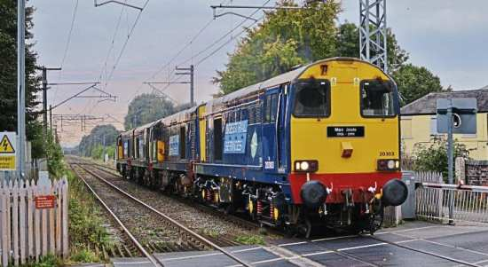 Direct Rail Services Type 1 No. 20303 Max Joule leads classmates Nos. 20305, 20308 and 20312 from Crewe Gresty Bridge to Barrow Hill on September 27, the newly reinstated quartet being seen passing Alsager (Cheshire). Elliott Farrell