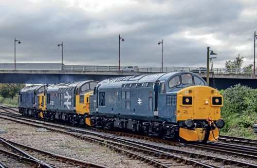 Split-box Type 3 No. 37099 arrives at Derby on October 28 with classmates Nos. 37025 and 37608 in tow as the 0Z37 Barrow Hill to Derby RTC light engine move. No. 37099 returned to traffic in mid-October for the first time in 19 years. Rob Reedman
