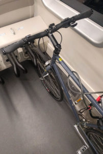 Old style of bike rack on BART train