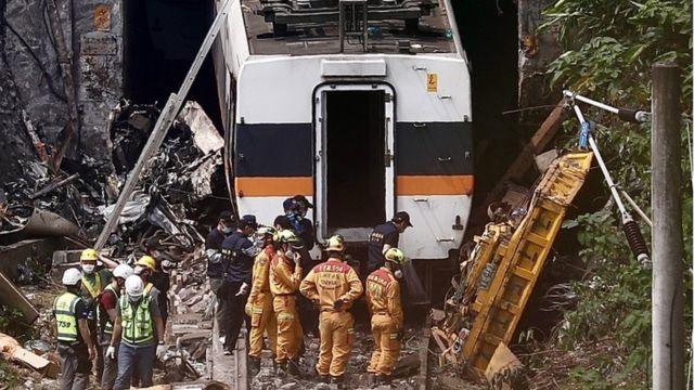 Trenin enkazı ve kurtarma görevlileri