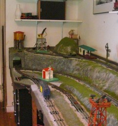the layout has realistic ground and rock work plus a couple of wooded hills most of the rock faces are removable to reach hidden track sections and wiring  [ 1200 x 673 Pixel ]