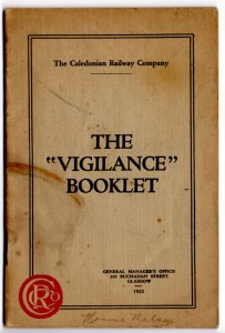 Cover of the Caledonian Railway's 1921 'Vigilance Booklet'