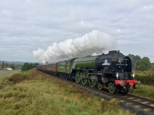 A volunteer with Tornado 60163 Steam Locomotive