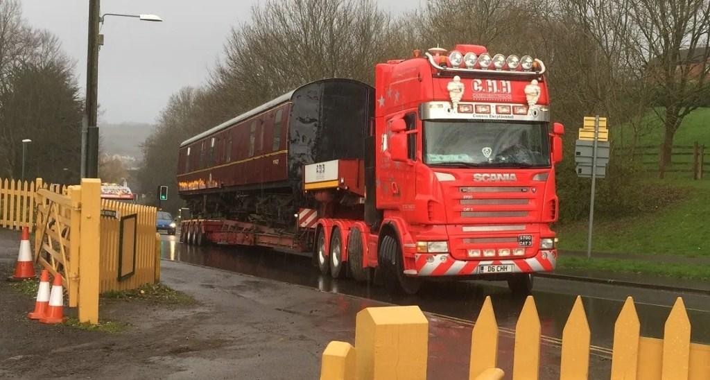 British Railways Mark1 railway carriage being transported
