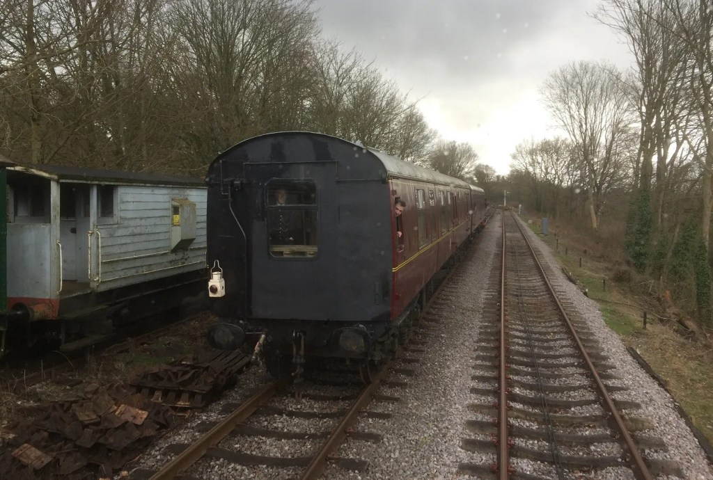 Trains pass on the Somerset and Dorset Railway