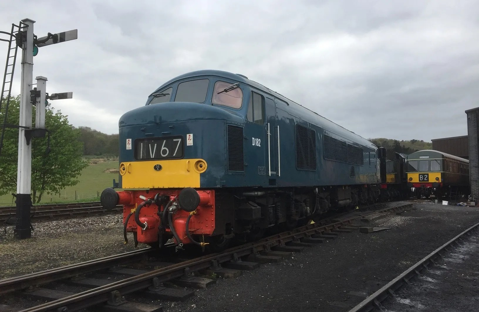Class 46 D182 on Weybourne shed yard at the North Norfolk Railway