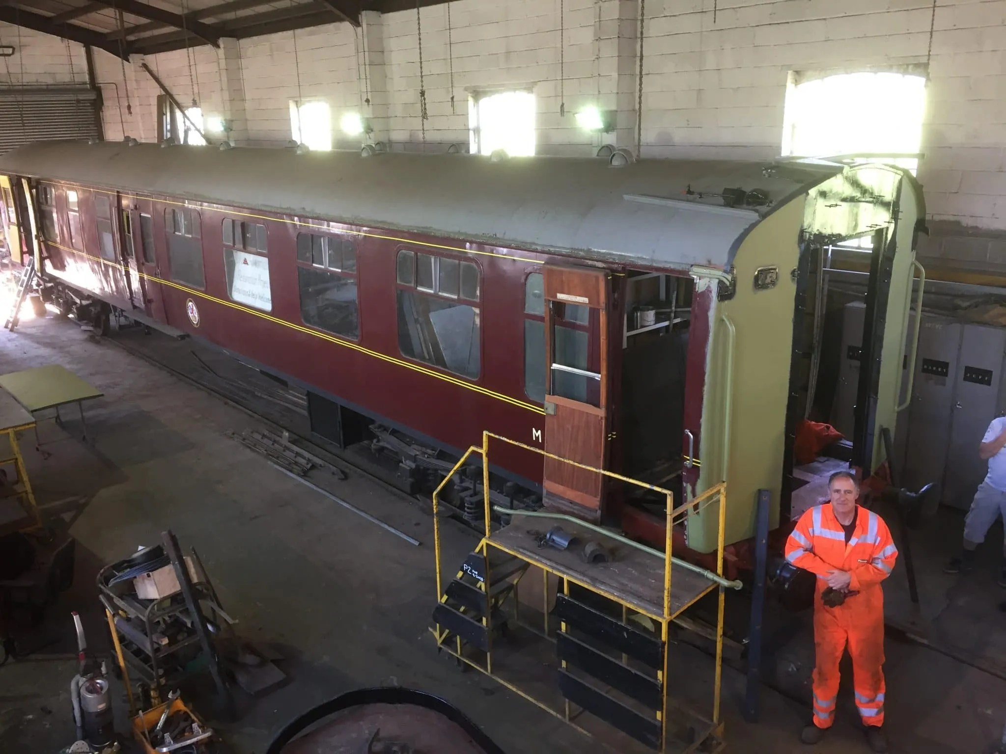 Further progress in the refitting of the corridor connections on BSK M34527 at Cranmore Maintenance Services.