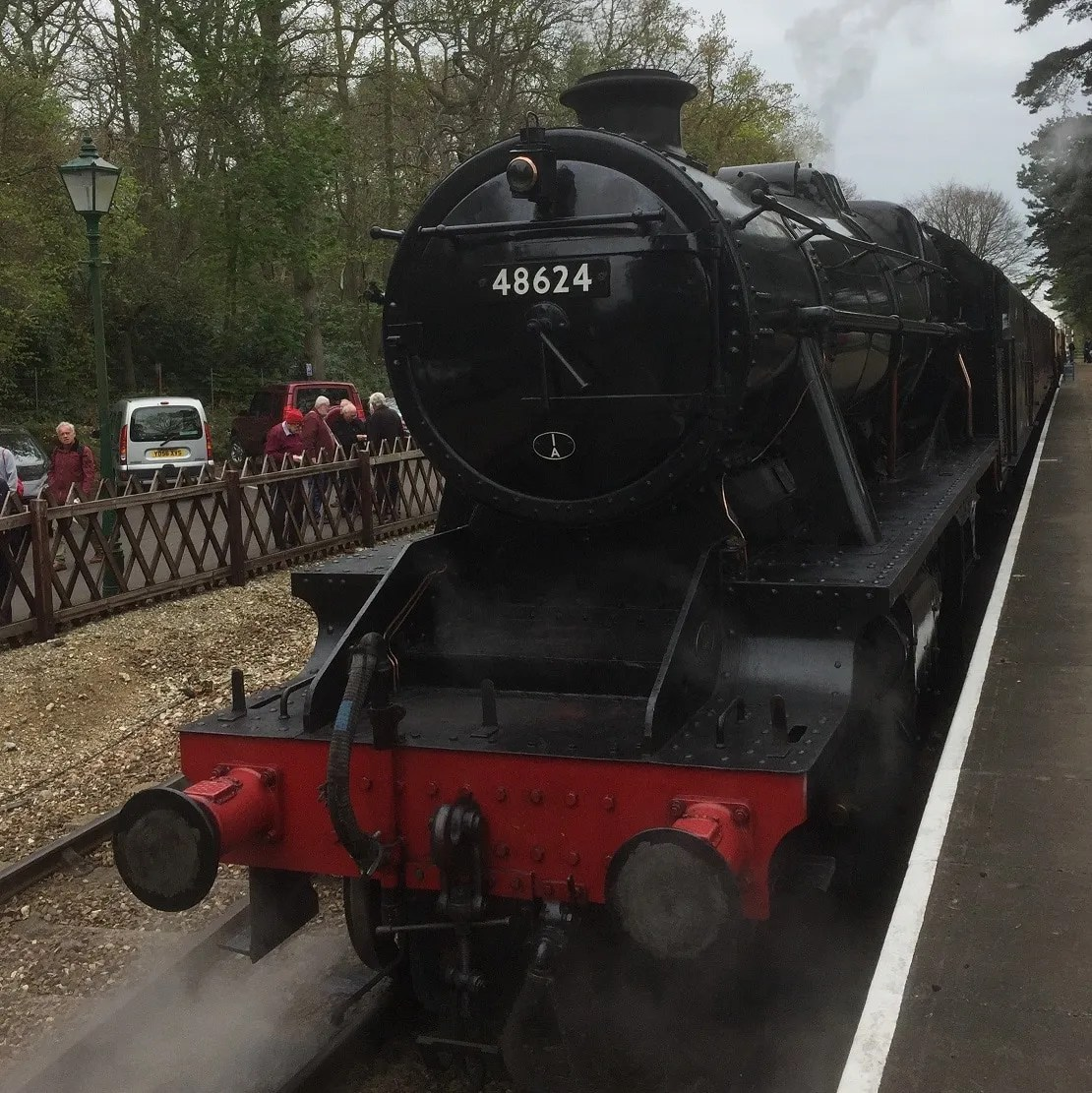 Stanier Class 8f arrives at Holt Station on the North Norfolk Railway