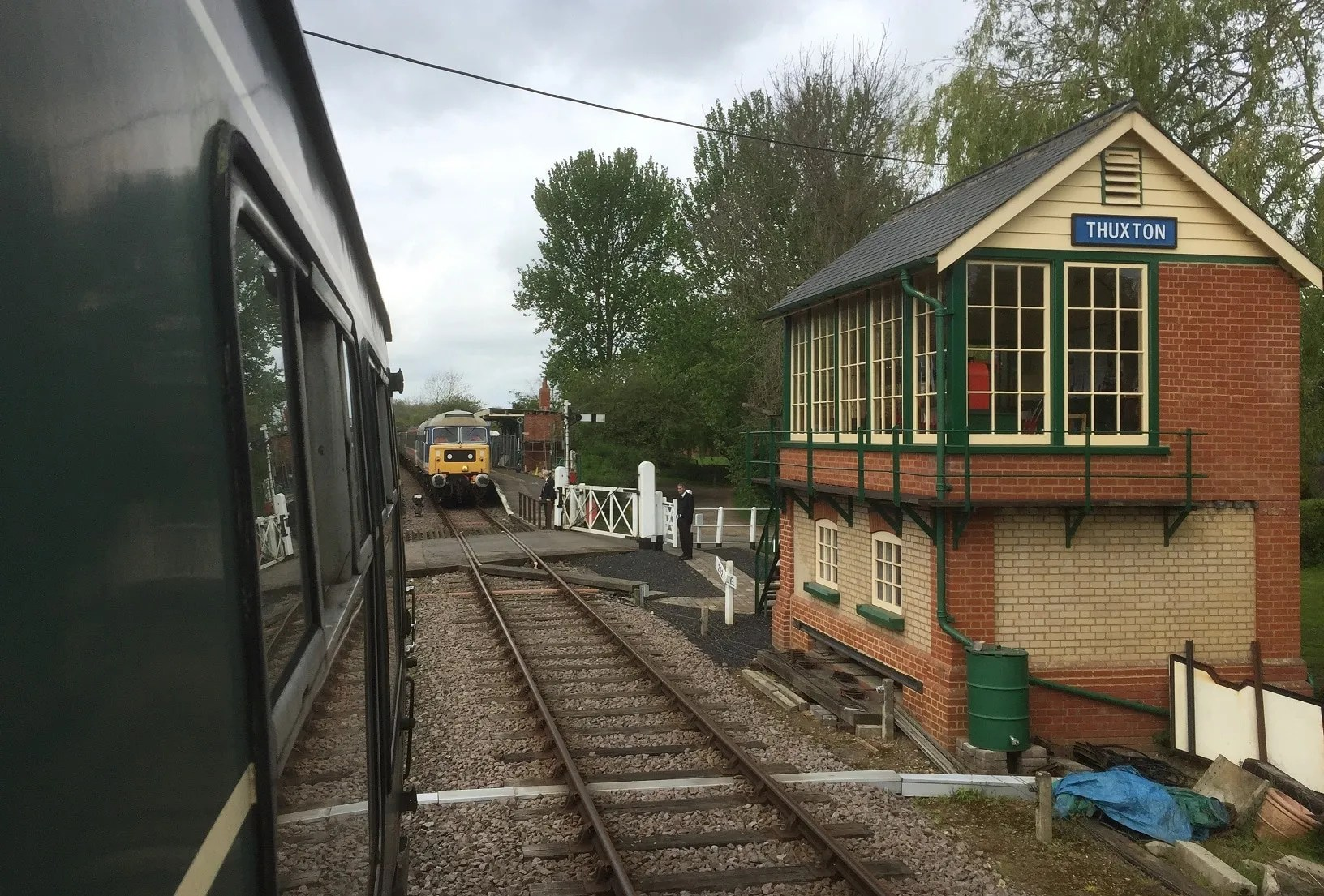 Approaching Thuxton Station with its new signal box