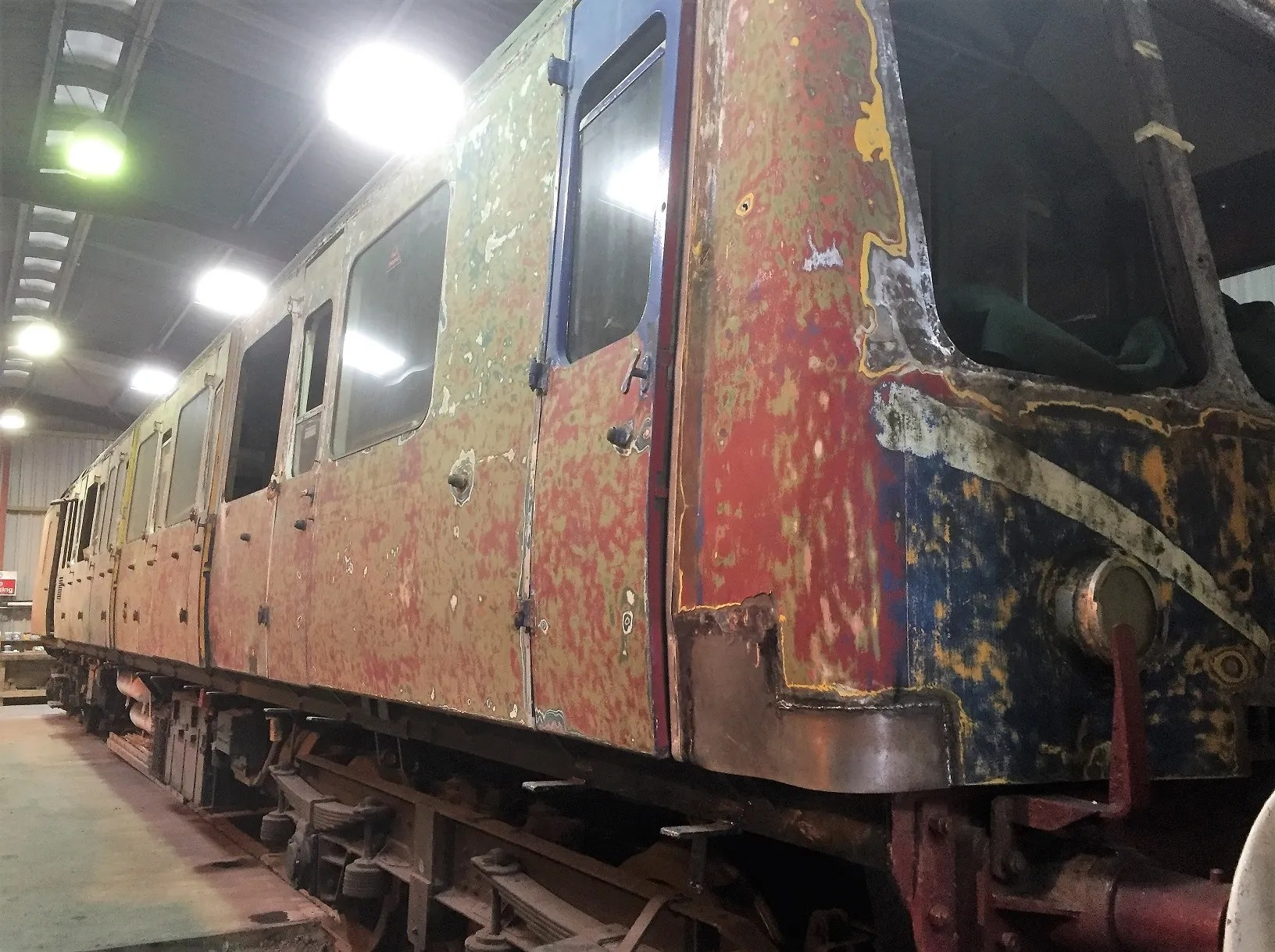 Class 117 DMS undergoing body repairs in the workshop at North Weald