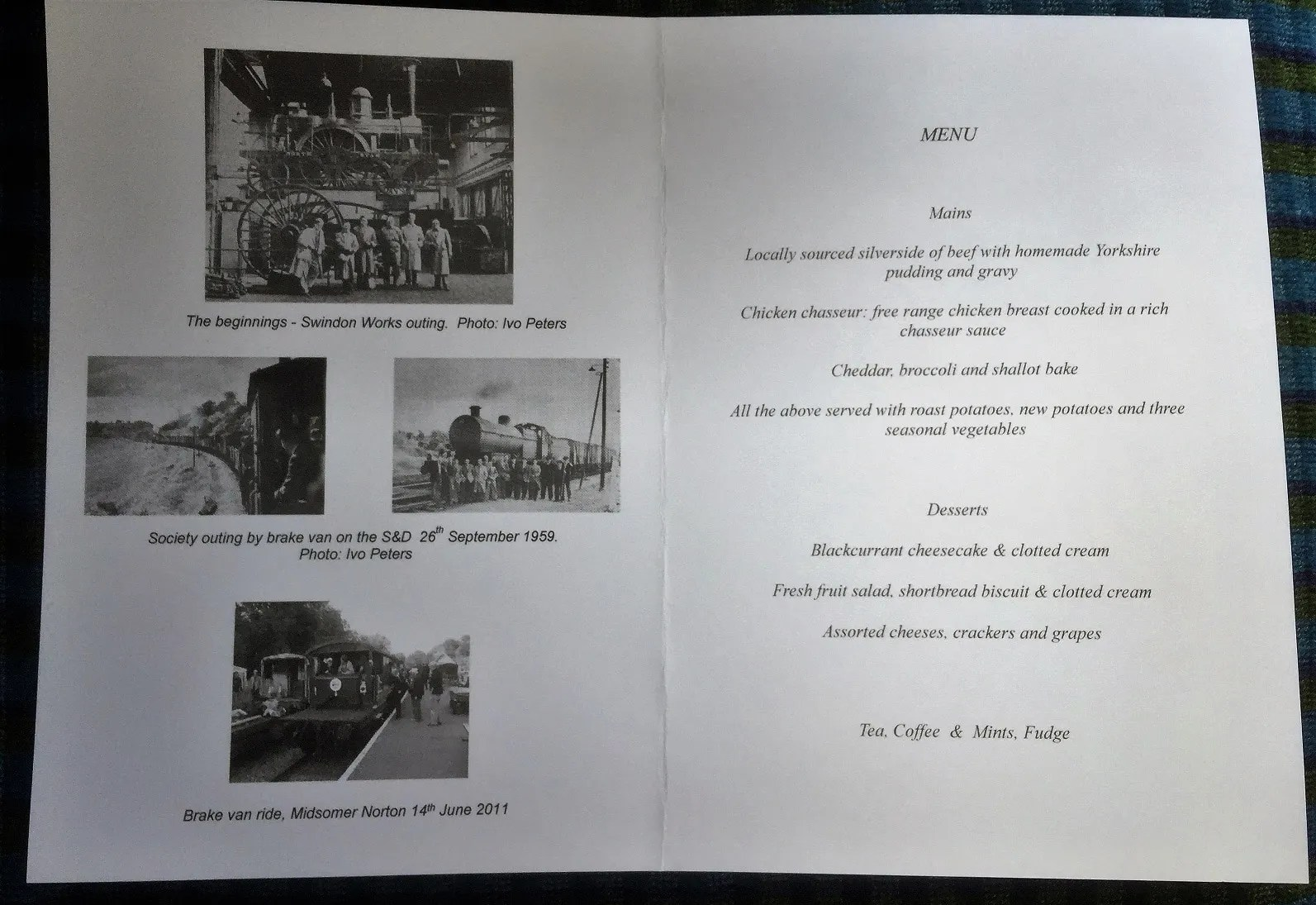 Bath Railway Society Jubilee Dinner menu