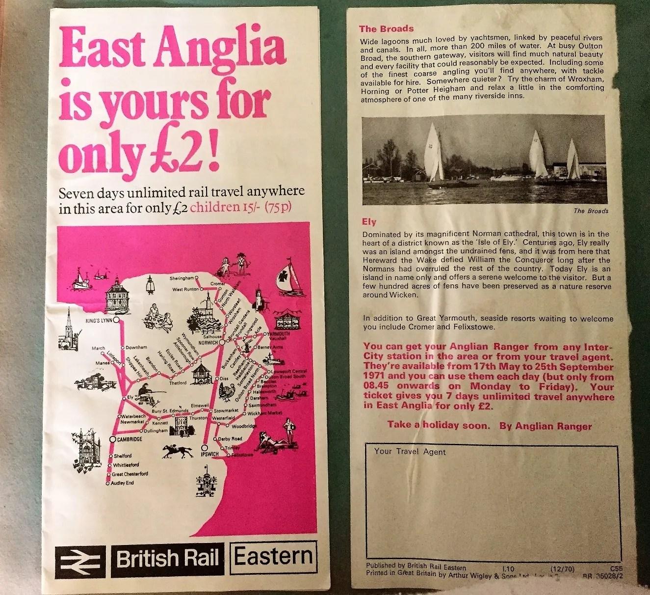 British Rail 1970s leaflet - British Rail Eastern Region Rover - British Rail Eastern Region Map